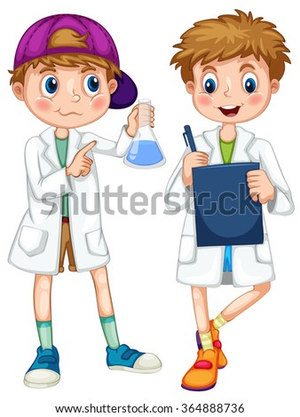 Boys in science gown writing and experimenting illustration - stock vector