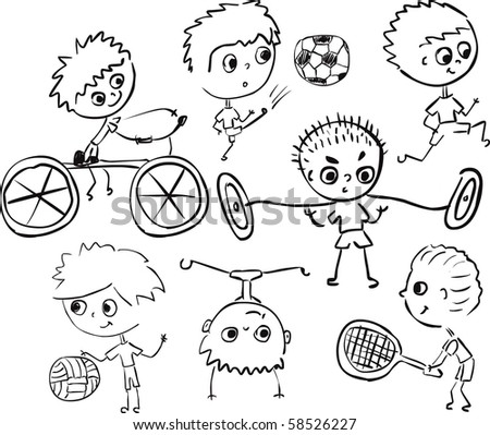boys in sports - stock vector