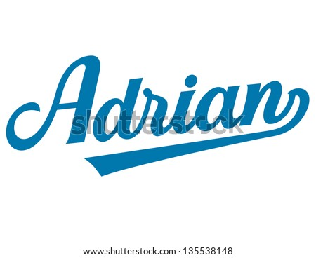 Boys Names Athletic Vector Lettering Series Adrian