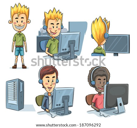 Boys Playing Computer - stock vector