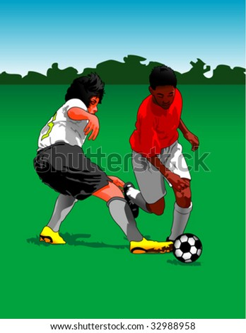Boys playing soccer football - stock vector