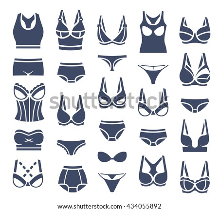 Bra design and panties styles vector flat silhouette icons set. Female underwear pictogram collection. Lingerie fashion infographic elements. Woman wardrobe garments. Various clothes isolated symbols - stock vector