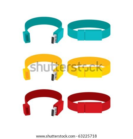 bracelet pen drive - stock vector