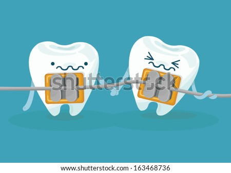 braces teeth - stock vector