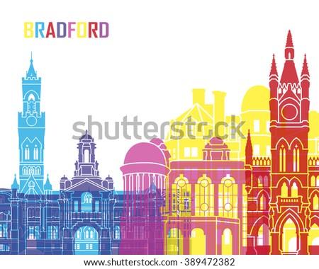 Bradford skyline pop in editable vector file - stock vector