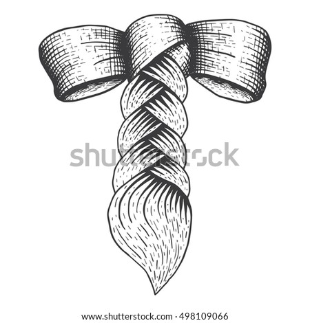braid with a bow in engraving style