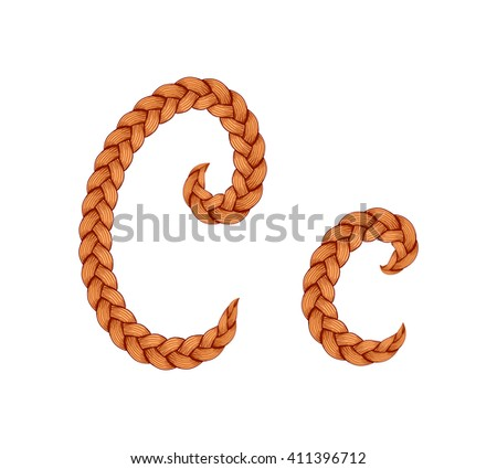 Braids font. Alphabet made from hairstyle plaits. Braided hair font. Letter C - stock vector