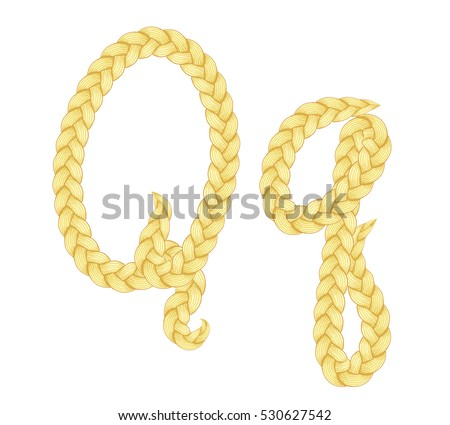 Braids font. Alphabet made from hairstyle plaits. Braided hair font. Letter Q