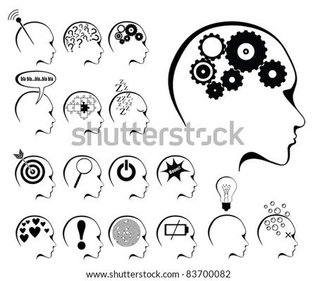 brain activity and states icon set - stock vector