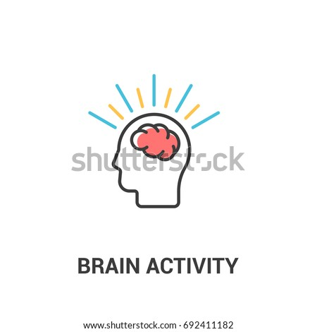 Brain activity concept. Vector illustration in flat line style. Brain in the human head
