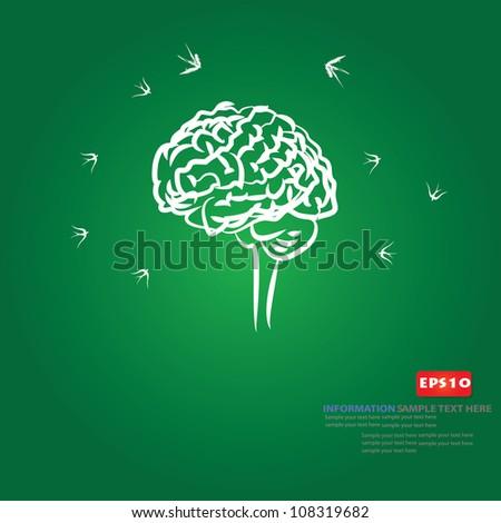 Brain and birds,Vector - stock vector