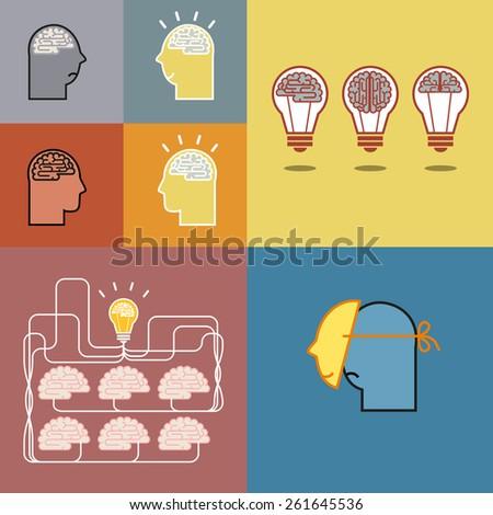 Brain and bulb light and mans head. Concept of idea. Vector illustration. - stock vector