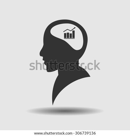 Brain  and chart icon, vector illustration - stock vector