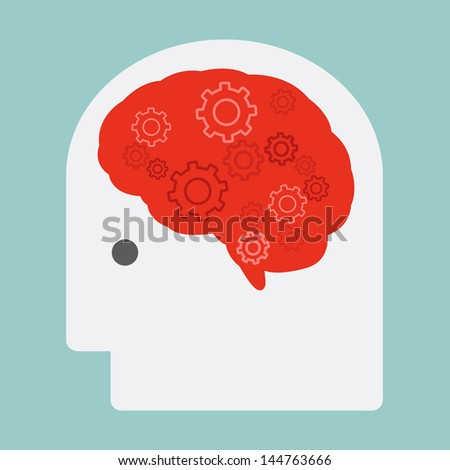 brain and gears, vector - stock vector