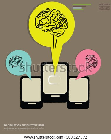Brain and mobile phone technology,Vector - stock vector