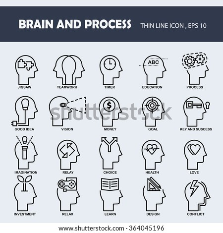 Brain and process in thin line icons set. - stock vector