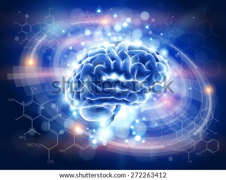 Brain - blue technology concept - radial HUD elements, chemical forms, lights  / vector illustration / eps10 - stock vector