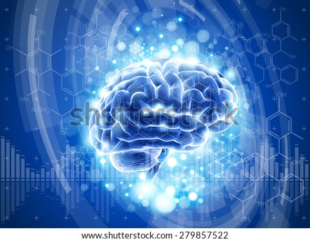 brain, blue technology concept. vector illustration. eps10 - stock vector
