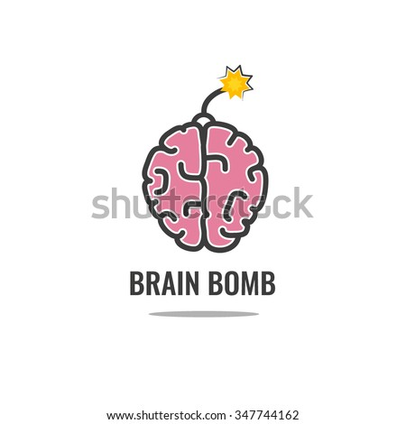 Brain bomb, Logo design vector template. Design for info-graphics style template. - stock vector
