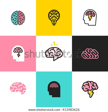 Brain, brainstorming, idea, creativity logo and icon. Set of flat line style vector illustrations - stock vector