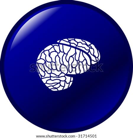 brain button - stock vector