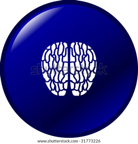 brain button - stock vector