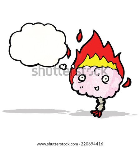 brain cartoon character - stock vector