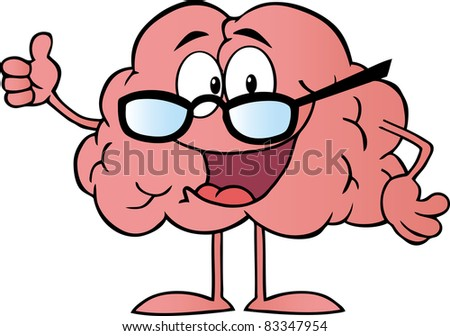 Brain Cartoon Character Giving The Thumbs Up - stock vector