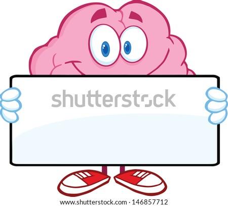Brain Cartoon Character Holding A Banner. Vector Illustration - stock vector