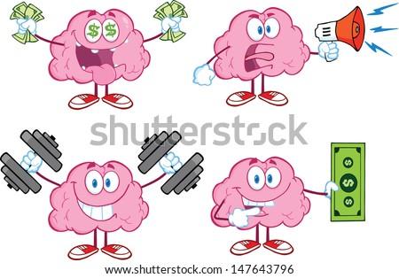 Brain Cartoon Mascot Collection 4 - stock vector
