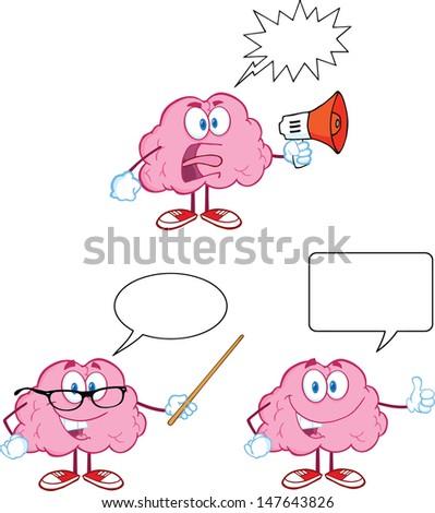Brain Cartoon Mascot Collection 11 - stock vector