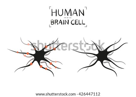 Brain cell - vector illustration, isolated on white background - stock vector