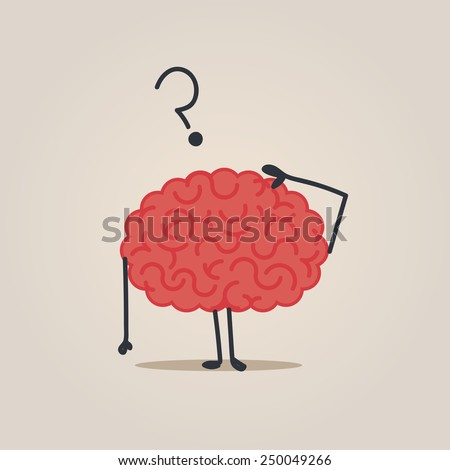 Brain character: Confused - stock vector