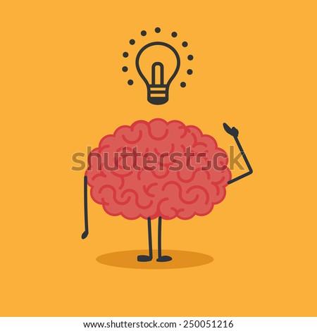 Brain character:Idea - stock vector