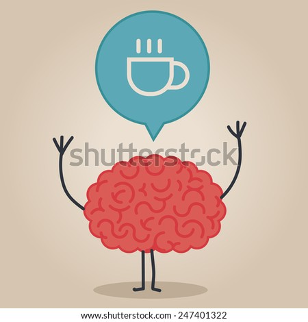 Brain character with a bubble chat: coffee - stock vector
