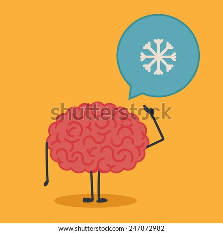 Brain character with a bubble chat: snow - stock vector