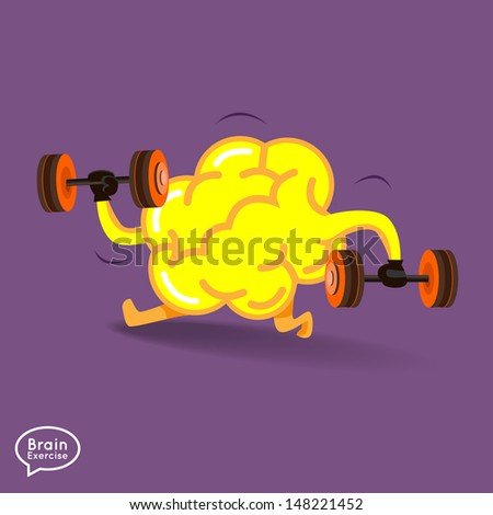 Brain charactor vector design fitness for smart brain with dumbbell - stock vector