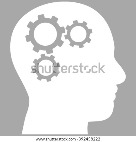 Brain Components vector icon. Image style is flat brain gears pictogram symbol drawn with white color on a silver background. - stock vector