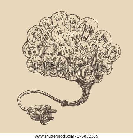 brain (concept ideas) vintage illustration, engraved retro style, hand drawn, sketch - stock vector