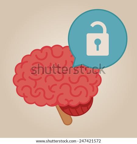 Brain concept illustration: unlocked brain - stock vector