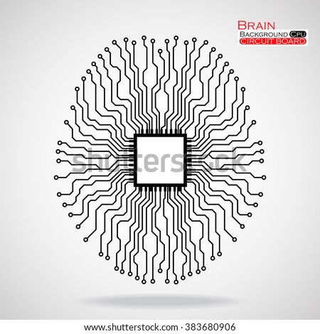 Brain. Cpu. Circuit board. Vector illustration. Eps 10 - stock vector