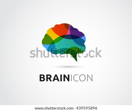 Brain, Creative mind, man head, learning and design icon - stock vector