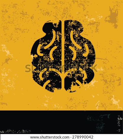 Brain design, concept on yellow grunge background,vector