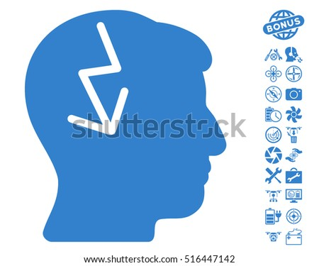 Brain Electric Strike pictograph with bonus quadrocopter service pictograph collection. Vector illustration style is flat iconic symbols on white background.