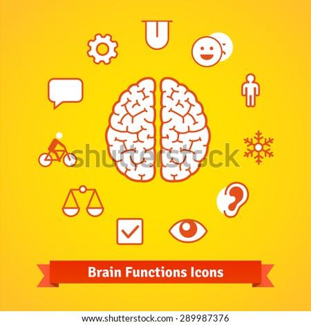 Brain function icons set. Flat vector. - stock vector