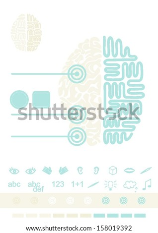 Brain functioning healthcare medical thinking gray turquoise illustration with set of function icons - stock vector