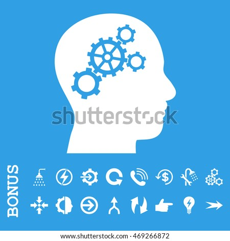 Brain Gears vector icon. Image style is a flat iconic symbol, white color, blue background.