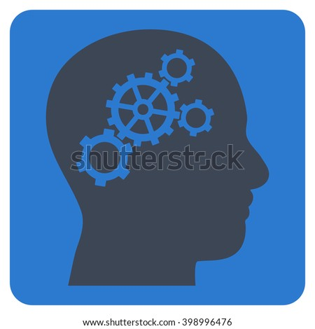 Brain Gears vector icon symbol. Image style is bicolor flat brain gears iconic symbol drawn on a rounded square with smooth blue colors.