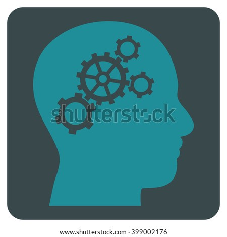 Brain Gears vector icon symbol. Image style is bicolor flat brain gears iconic symbol drawn on a rounded square with soft blue colors. - stock vector