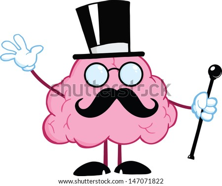 Brain Gentleman With Cylinder Hat And Cane Waving For Greeting - stock vector
